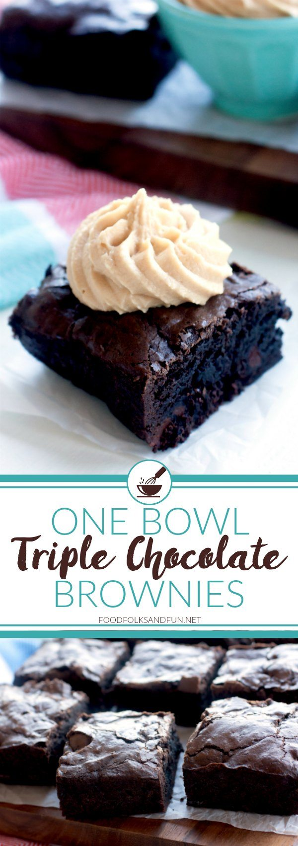 These Triple Chocolate One Bowl Brownies are rich, fudgy, and so incredibly easy to make! One bowl is all it takes to make this kitchen staple! via @foodfolksandfun