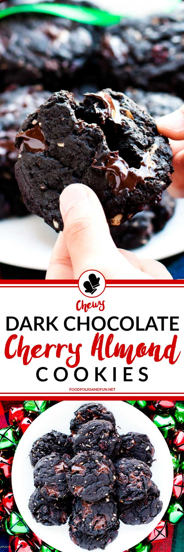 A collage of chewy Dark Chocolate Cherry Almond cookies with text overlay for Pinterest
