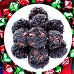 Top view of Dark Chocolate Cherry Almond Cookies on a plate
