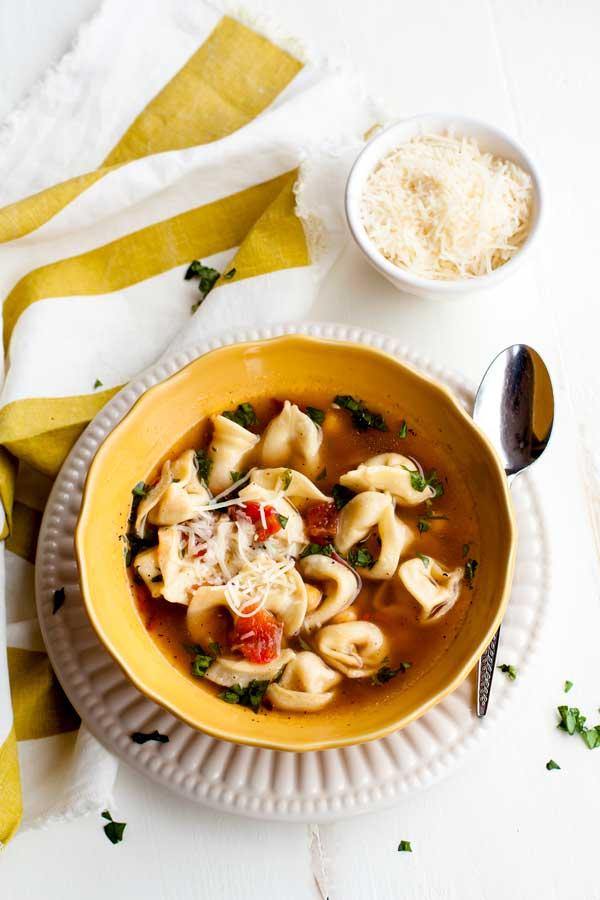 Creamy Tomato Tortellini Soup in a bowl