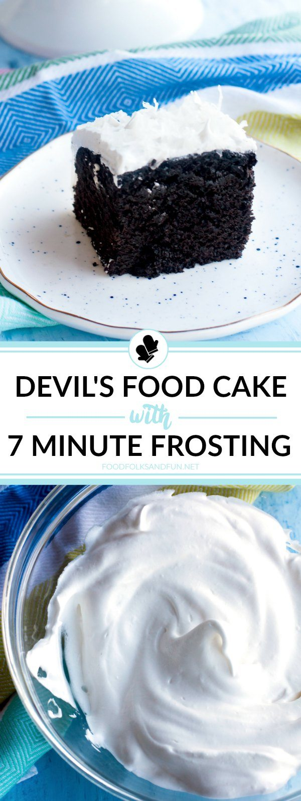 This is the best homemade Devil's Food Cake recipe I've ever tried, and it's covered in fluffy, thick and glossy 7 Minute Frosting. It makes the perfect dessert anytime of the year!