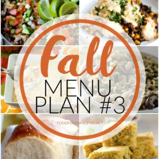 Your week just got a whole lot easier with this Fall Menu Plan #3! It includes 14 recipes in all: 6 dinners, 3 side dishes, 1 snack, 2 treats, and 2 breakfast ideas that are all perfect for Fall!
