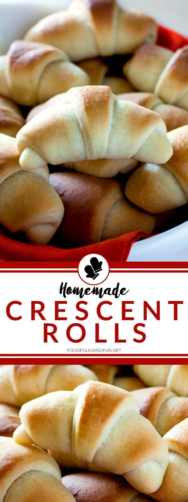 These homemade, golden Crescent Rolls are always the star of any holiday feast. They're tender, buttery, and extraordinary! via @foodfolksandfun