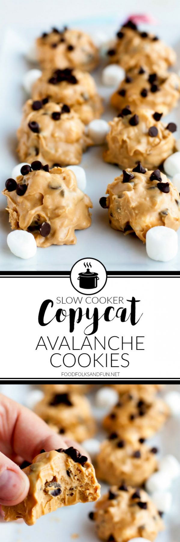 Picture collage of copycat avalanche cookies for Pinterest.