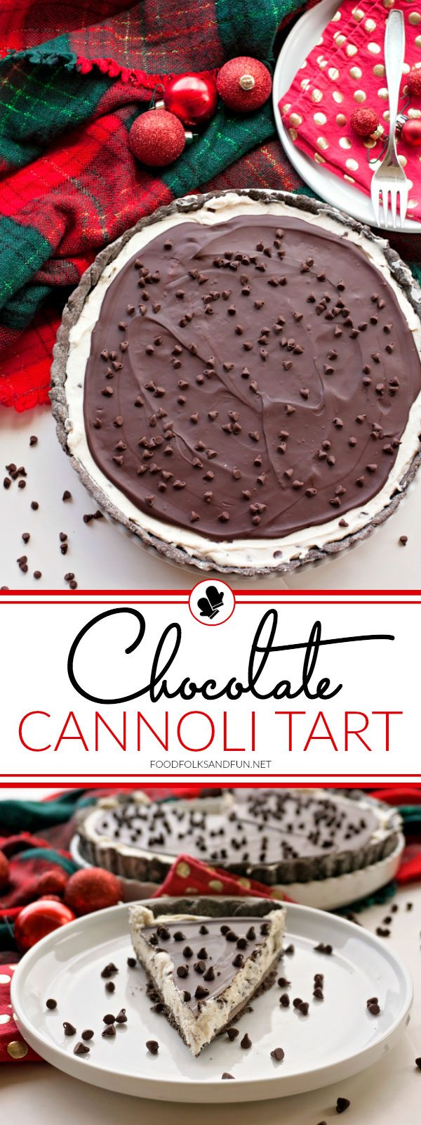 This Chocolate Cannoli Tart has all the luscious flavor of a chocolate cannoli in an easy to make recipe. It's all dressed up and perfect for holiday entertaining or any time of the year.