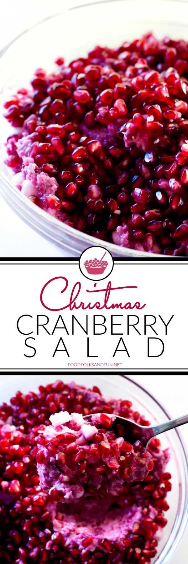 This Christmas Cranberry Fluff Salad is simply the best. It's loaded with tart cranberries, whipped cream, pineapple, coconut, marshmallows, and pomegranate seeds. via @foodfolksandfun