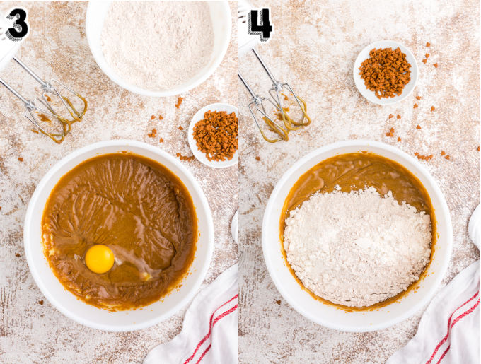 The dry ingredients onto of the wet ingredients before they get mixed in.