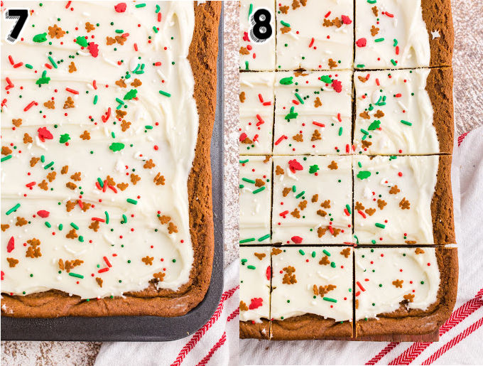 Frosting and sprinkles on top of the bake gingerbread bars.