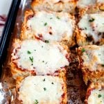 Two rows of French Bread Pizza on a baking sheet