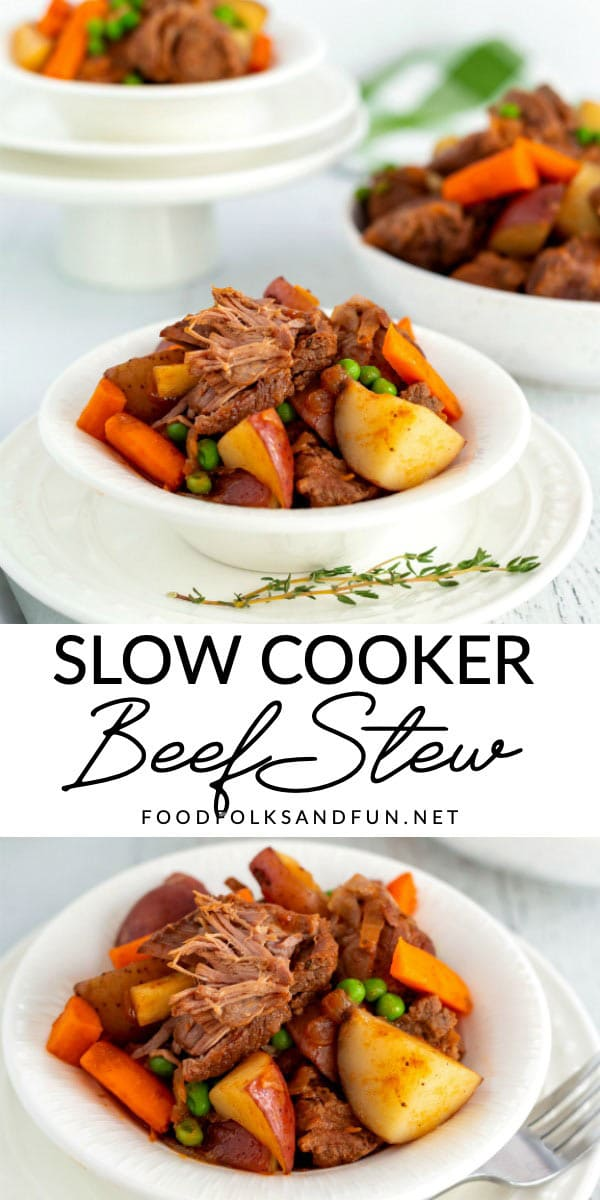 This slow cooker beef stew is a classic stick-to-your-ribs recipe that's loaded with vegetables, and made in the crockpot. It's perfect for chilly days and for company! via @foodfolksandfun