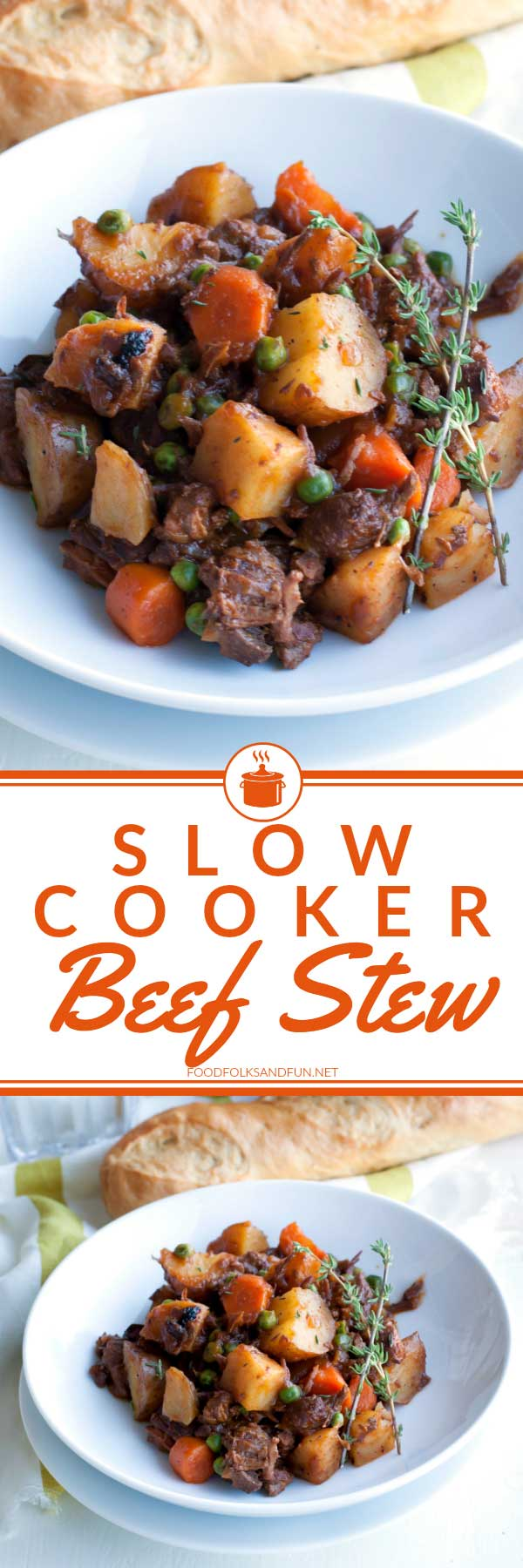 Classic stick-to-your-ribs beef stew that's loaded with vegetables, and made in the slow cooker. It's perfect for chilly days and for company!