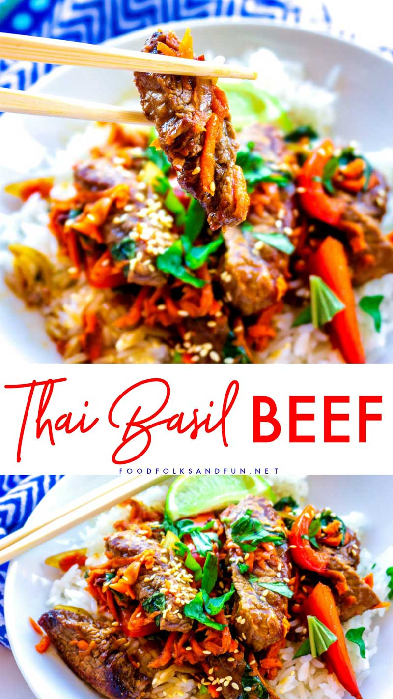 Thai Basil Beef (Pad Gra Prow) is tasty, easy, and so satisfying. It's loaded with flank steak, bell pepper, garlic, shallots, carrots, basil, and a deep, dark Thai sauce! via @foodfolksandfun