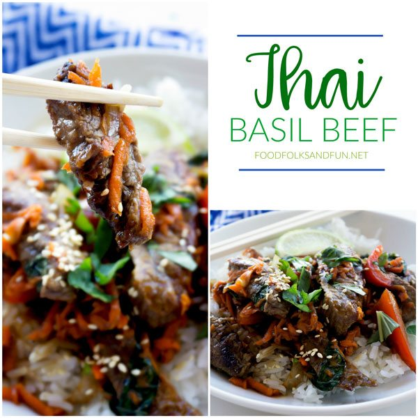 Collage of Thai Basil Beef with text overlay for Pinterest