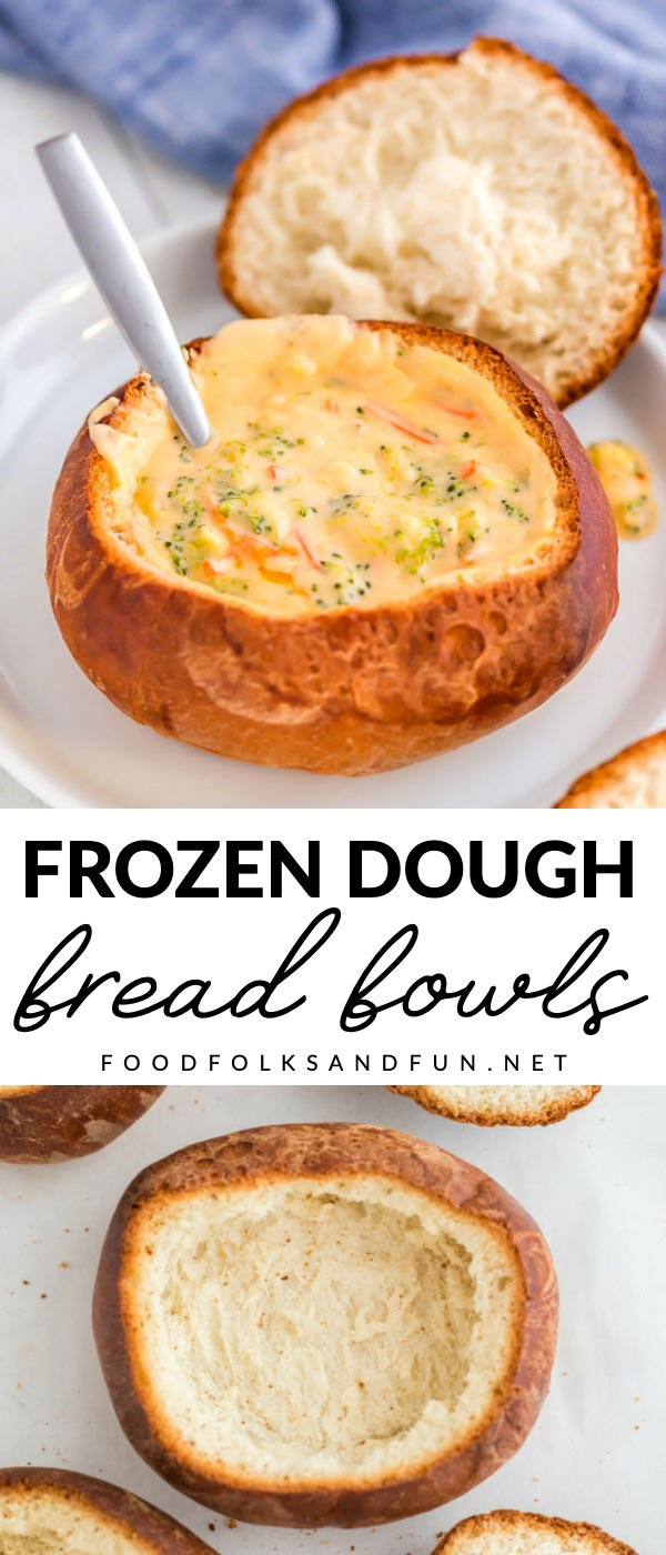 These Bread Bowls made from frozen bread dough are really simple to make. You can make 6 for $2.14, that's just 36¢ per serving! via @foodfolksandfun