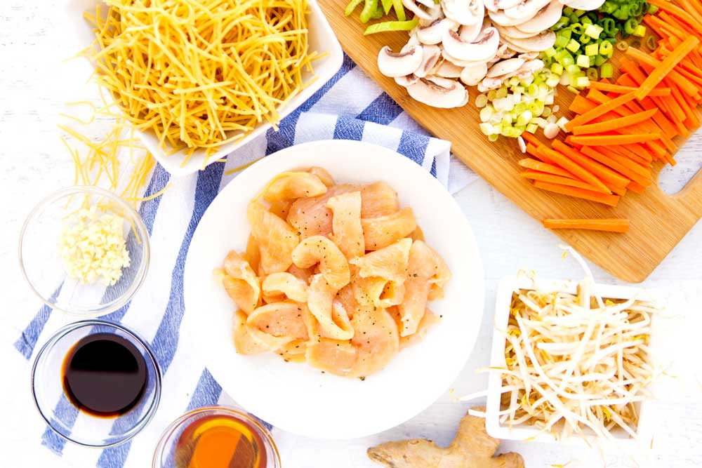 All of the ingredients that you need to make Chicken Chow Mein.