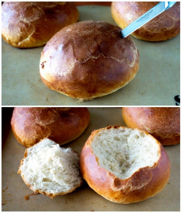 Cut the tops off of the baked bread rounds.
