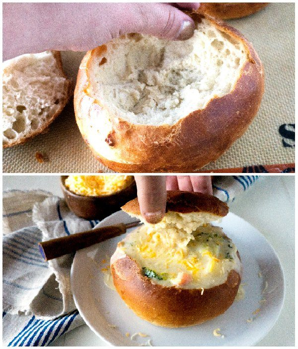 Use your finger to compress the insides of the bread bowl, and then fill it with soup.