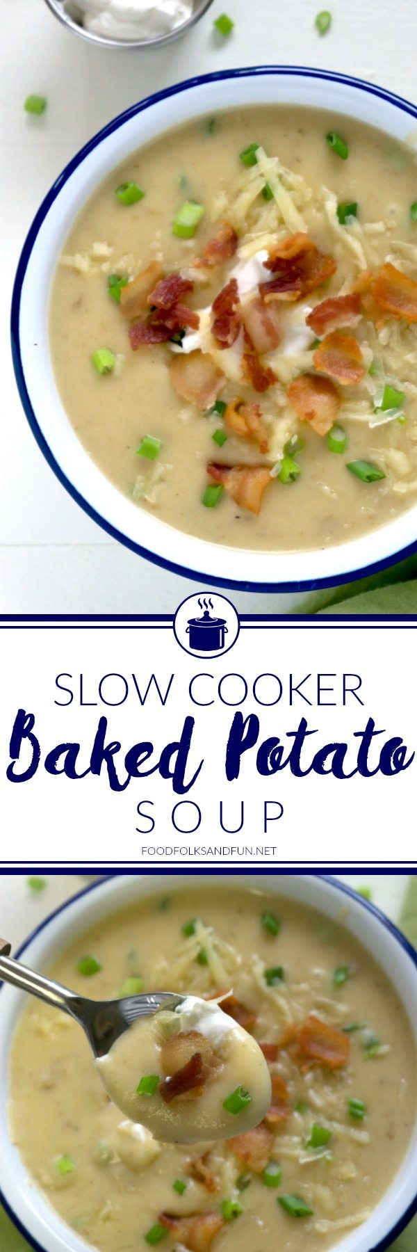 A collage of Slow Cooker Baked Potato Soup with text overlay for Pinterest
