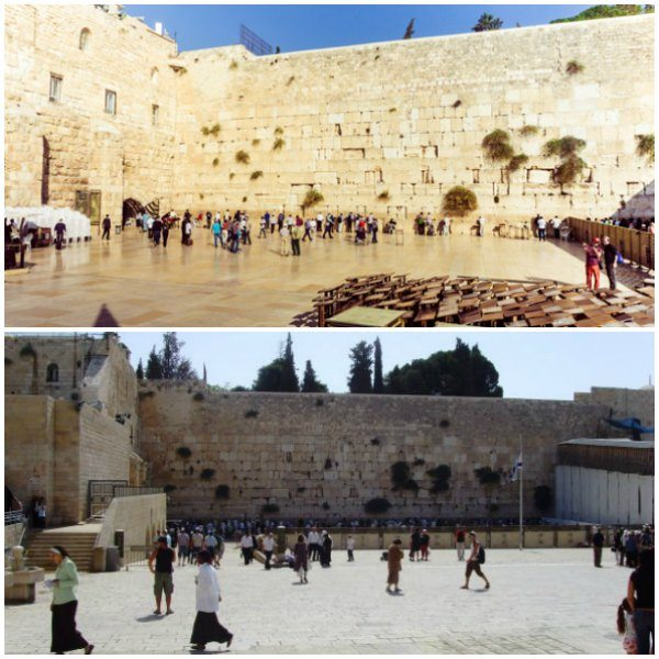 Two pictures of the Western Wall taken 10 years apart.