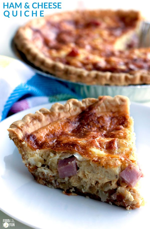 This easy ham and cheese quiche recipe has a creamy smooth custard interior, and it's filled to the brim with ham and Swiss cheese. It's perfect for breakfast, brunch, lunch, or dinner! via @foodfolksandfun