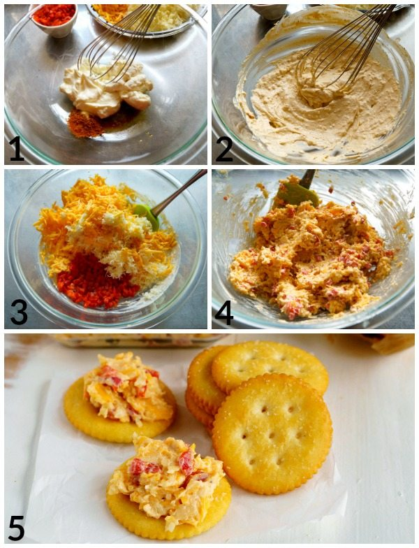Collage of process shots for making Pimento Cheese with text overlay for Pinterest