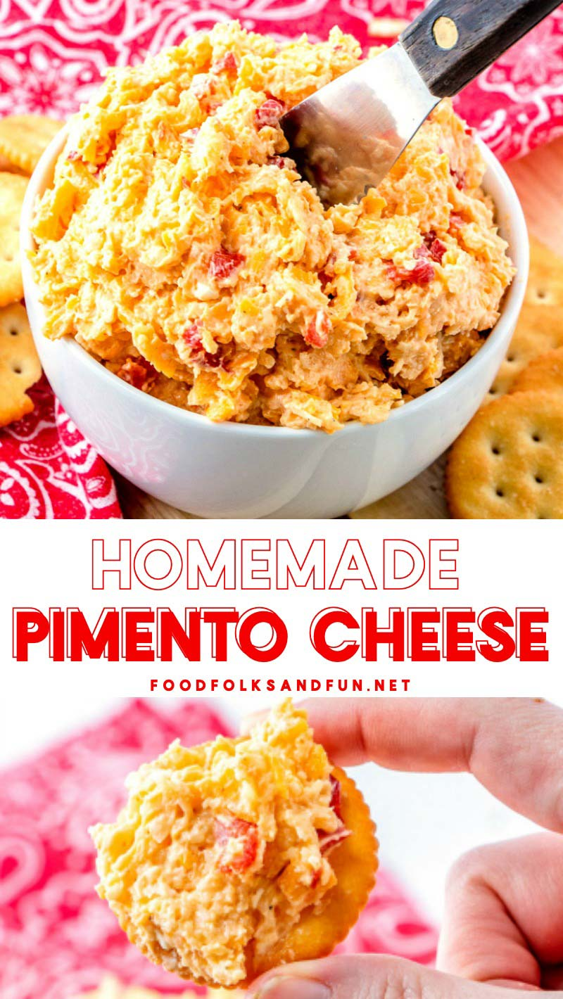 Pimento Cheese, the southern classic, never tasted so good when paired with buttery crackers. This recipe is simple, portable, and it's a family snacking favorite! via @foodfolksandfun
