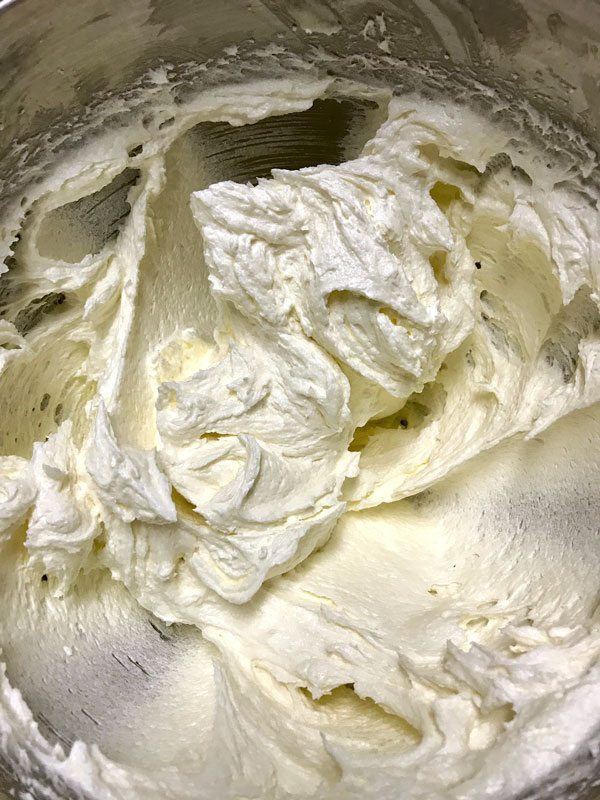 Creamed butter, cream cheese, and sugar for cream cheese pound cake.