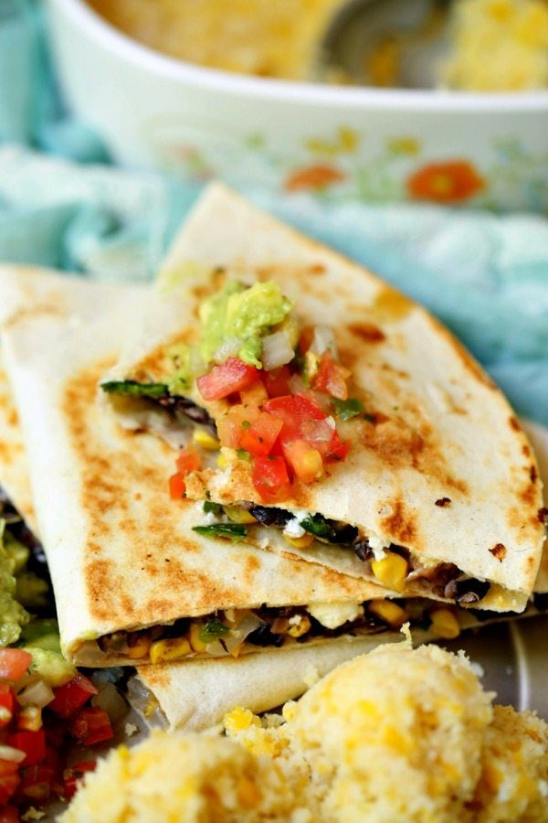 Loaded Vegetarian Quesadilla with Goat Cheese, Corn, Black Beans, and Poblano