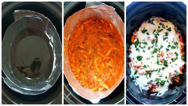 Process shots of making Slow Cooker Baked Ziti