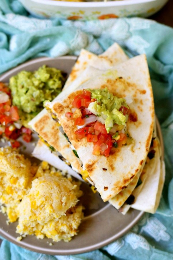 Top view of Vegetarian Quesadillas on a plate
