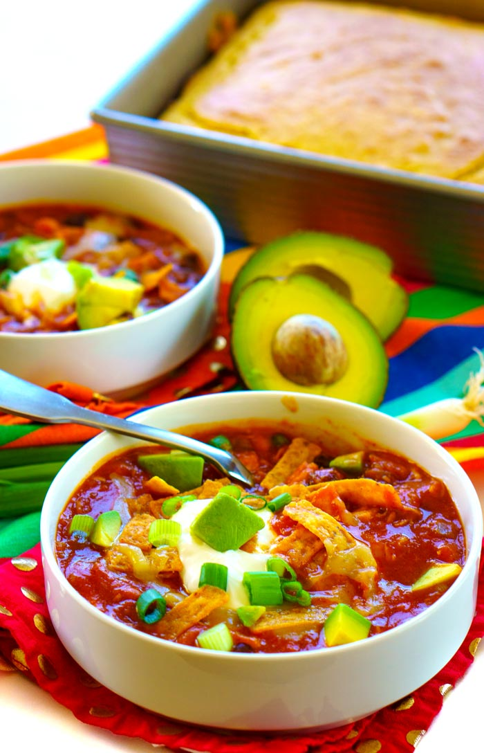 Chicken Taco Soup served with cornbread.