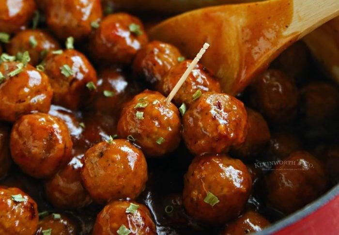 Pepper Jelly Glazed meatballs in a skillet