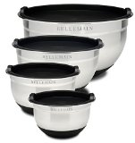 Various sizes of metal mixing bowls with lids