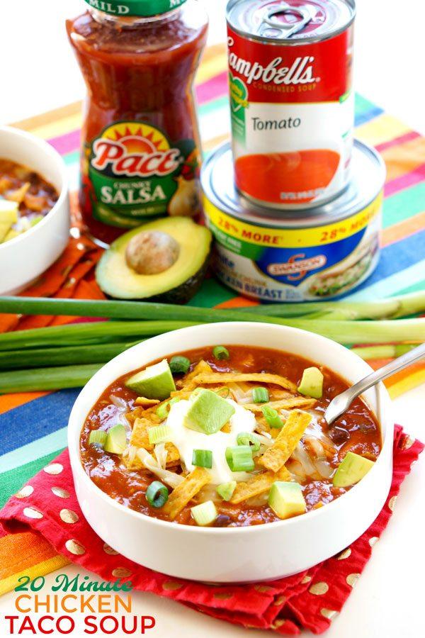 Simpe 20-Minute Chicken Taco Soup recipe.