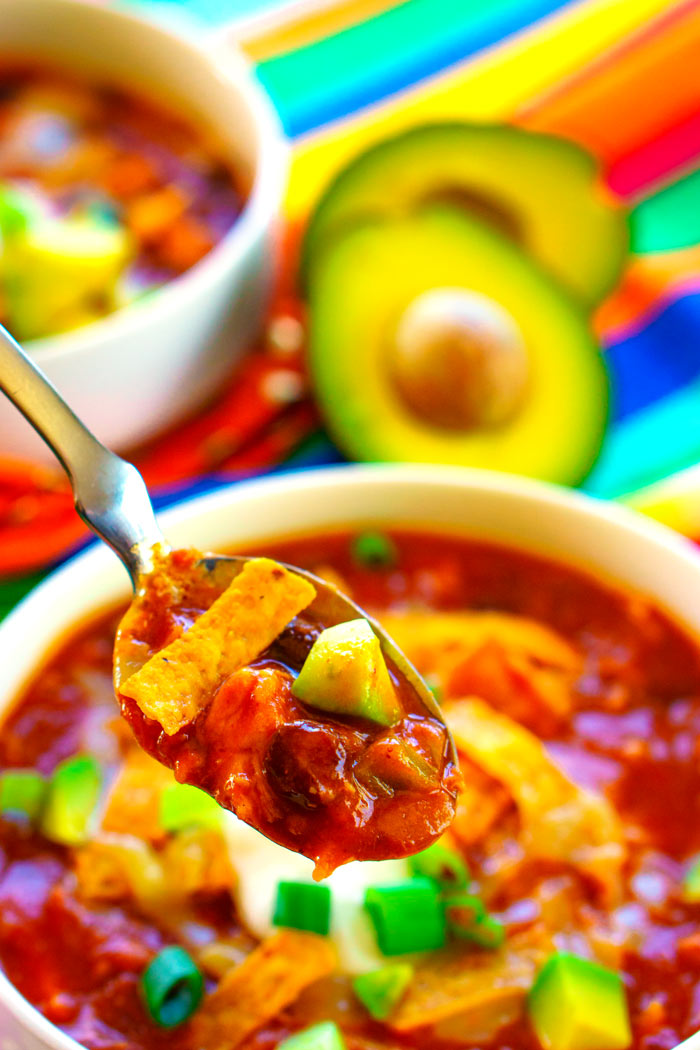 Chicken Taco Soup made with pantry ingredients.