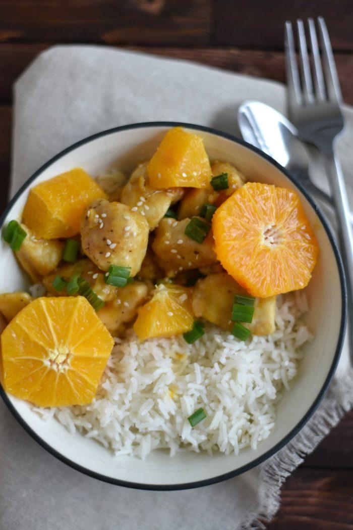 A bowl of easy weeknight orange chicken