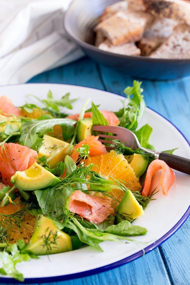 Smoked Salmon Orange and Avocado Salad in a bowl