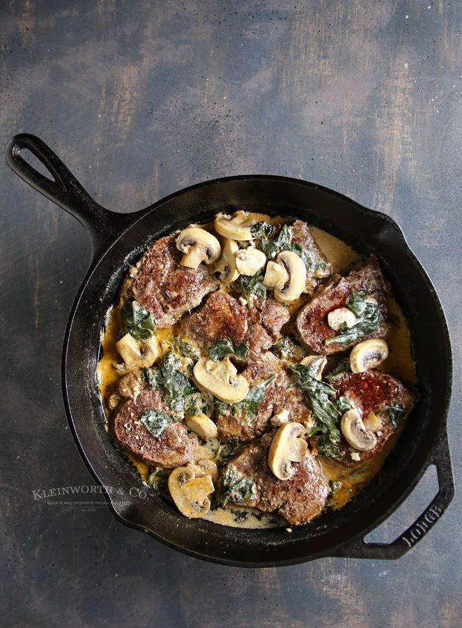 Spinach Mushroom Filet Mignon in a skillet