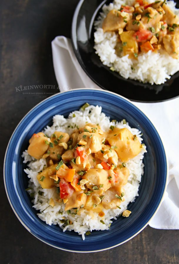 Thai Pineapple Peanut Chicken in a bowl over rice