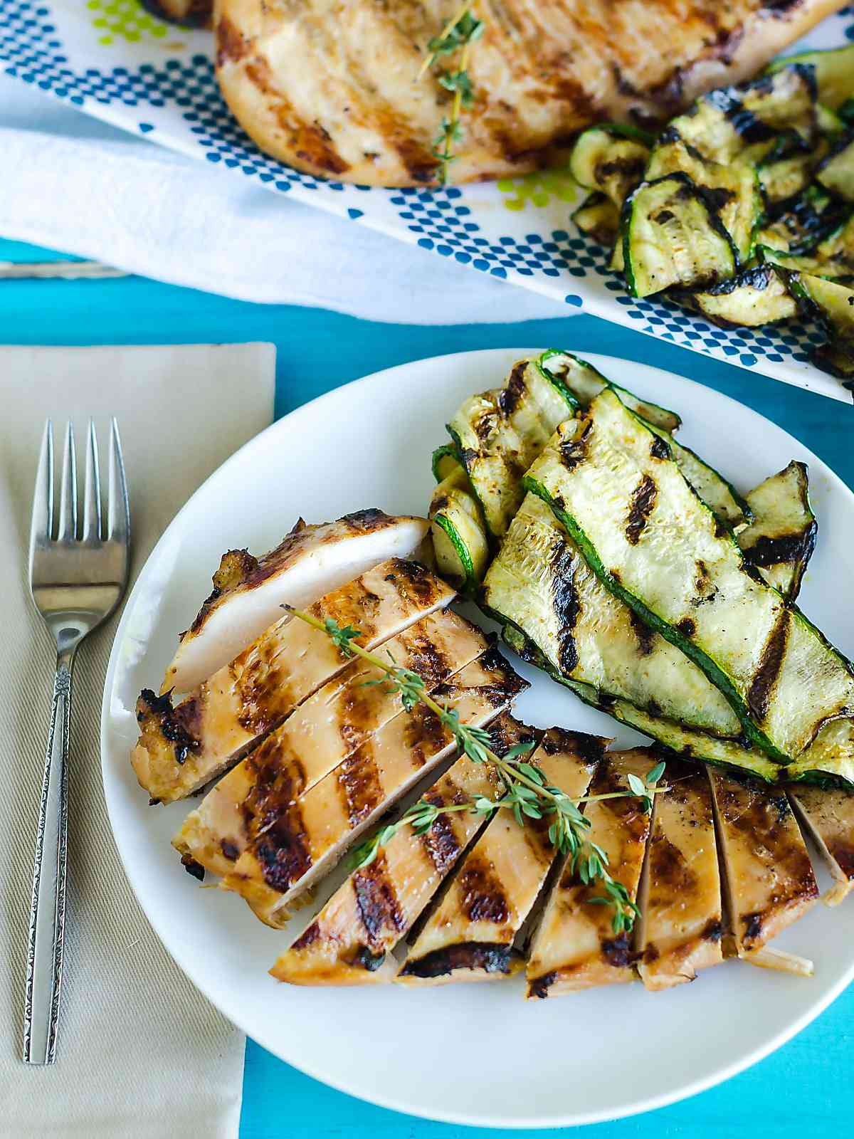 a plate of grilled teriyaki chicken with grilled zucchini on the side