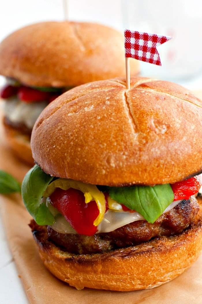 Loaded Italian Sausage Burger on a serving platter