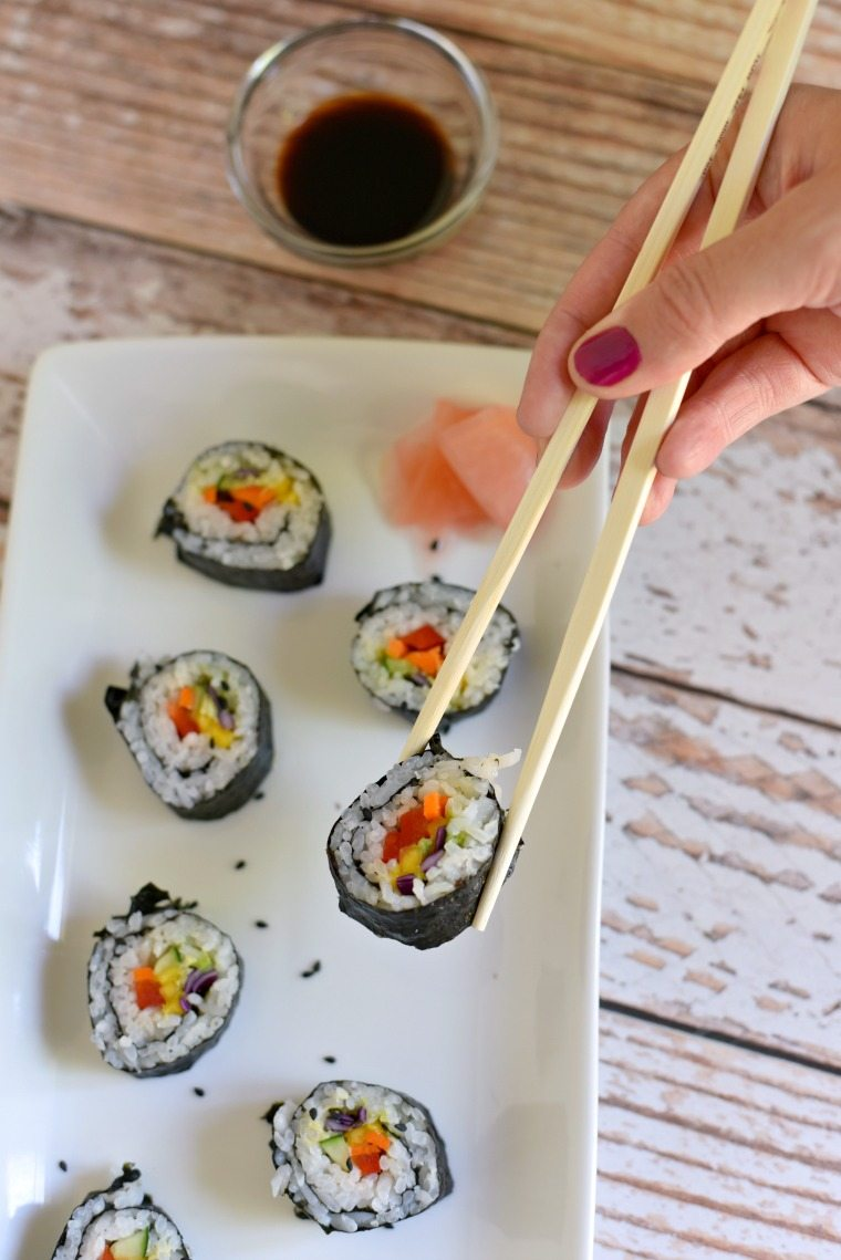 Rainbow sushi on a serving platter