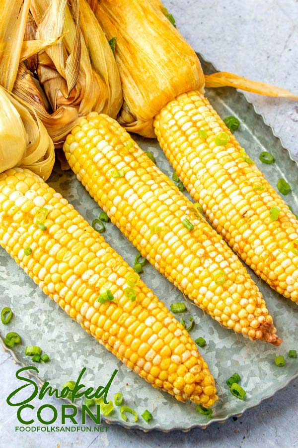 Overhead picture of corn on the cob that has been smoked.