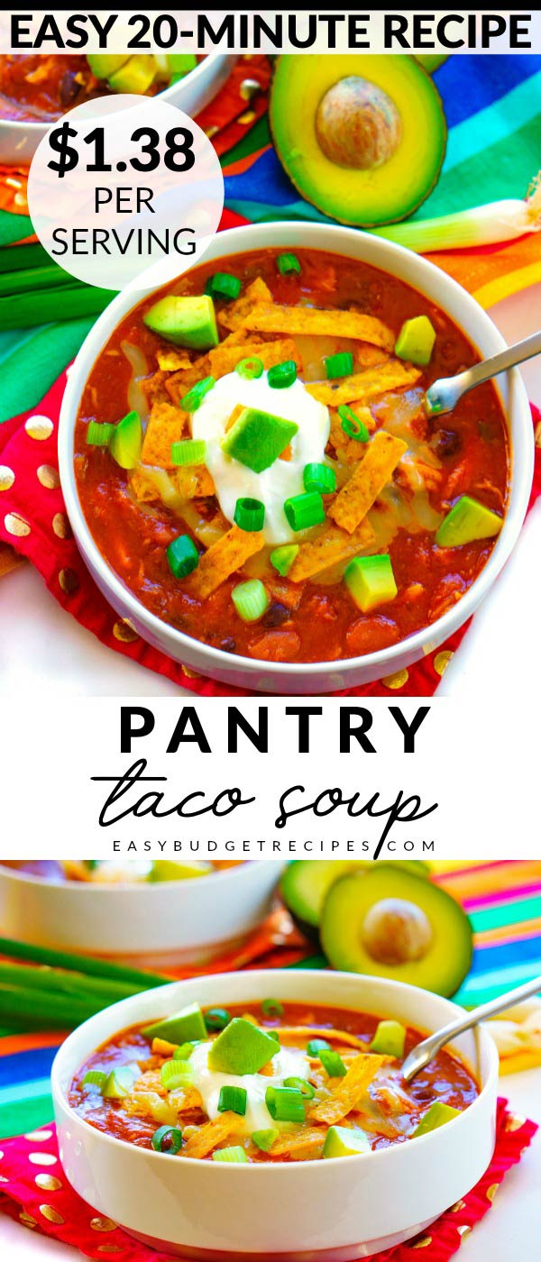 Chicken Taco Soup is a quick and easy recipe that is made with canned pantry ingredients. It serves 6 and costs $8.29 to make. That's just $1.38 per serving! Serve it with my Sour Cream Cornbread for a complete meal!  via @foodfolksandfun