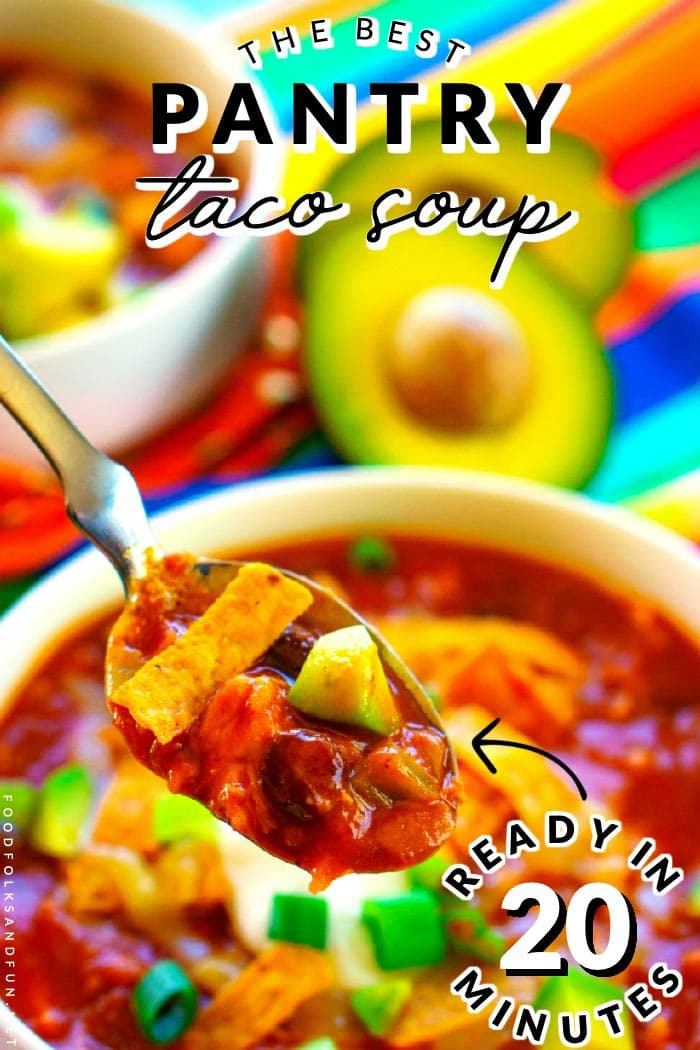 Chicken Taco Soup is a quick and easy recipe that is made with canned pantry ingredients. It serves 6 and costs $8.29 to make. That's just $1.38 per serving! via @foodfolksandfun