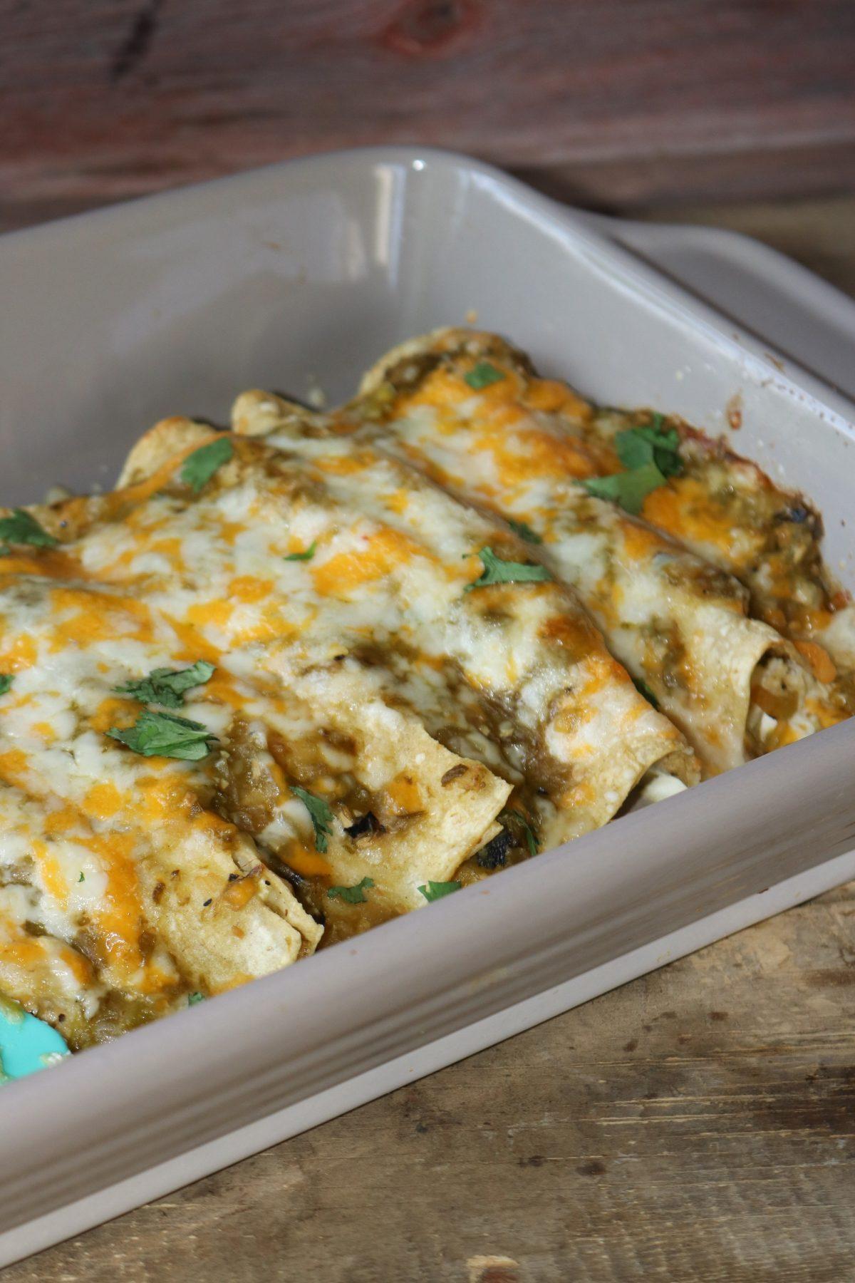 Enchiladas in a baking dish