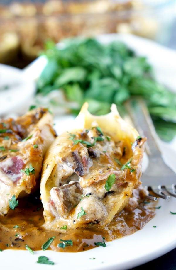 Chicken Marsala Stuffed Shells, a dinner party recipe.