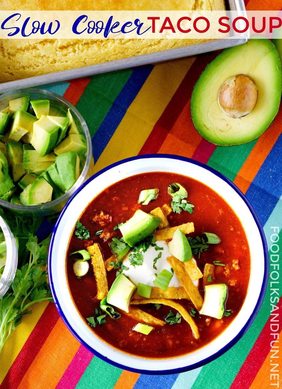Taco Soup make in the slow cooker.