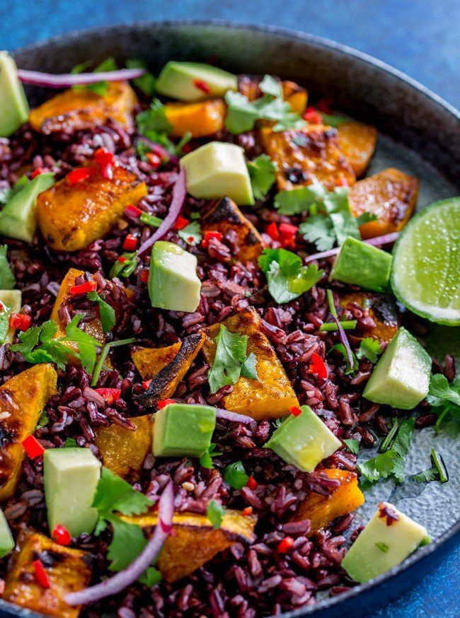 Mexican Black Rice and Pumpkin Salad on a plate