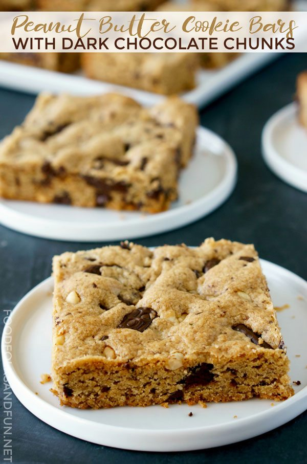 Best ever Peanut Butter Cookie Bars with Dark Chocolate Chunks!